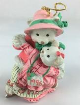 Christmas Holiday Skating Mother Bear & Cub Ornament 1996 Mom AGC Inc Pink - $1.89
