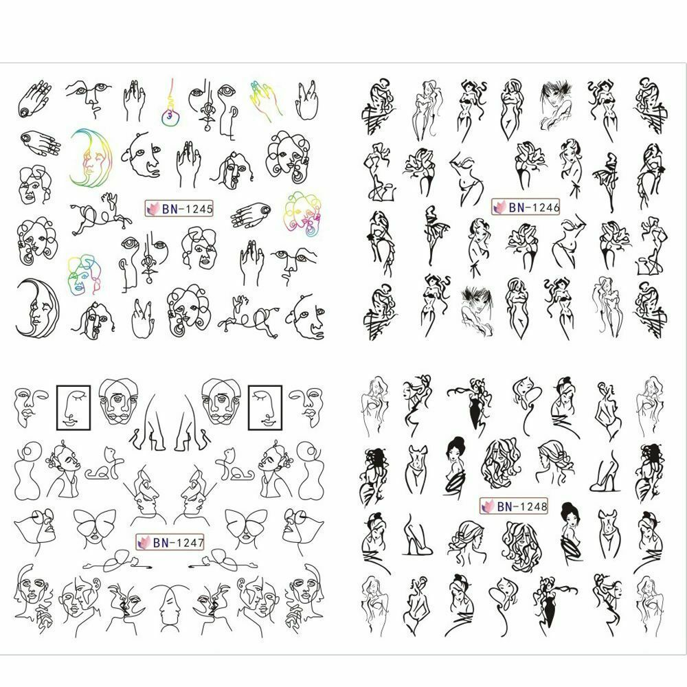 Nail Decals Abstract Black Line Sexy Girl Writing Letter Tattoos Sticker 12pcs