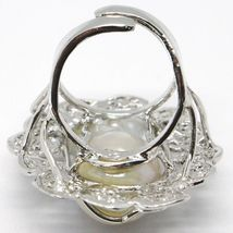 925 SILVER RING, PEARL BAROQUE WITH FRAME, FLOWER, MADE IN ITALY image 5