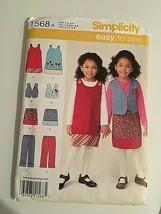 Simplicity Sewing Pattern 1568 Girl's Jumper Vest Skirt Sz 3-8 New Packa... - $8.66