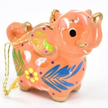 Handcrafted Painted Ceramic Peach Pink Elephant Confetti Ornament Made in Peru