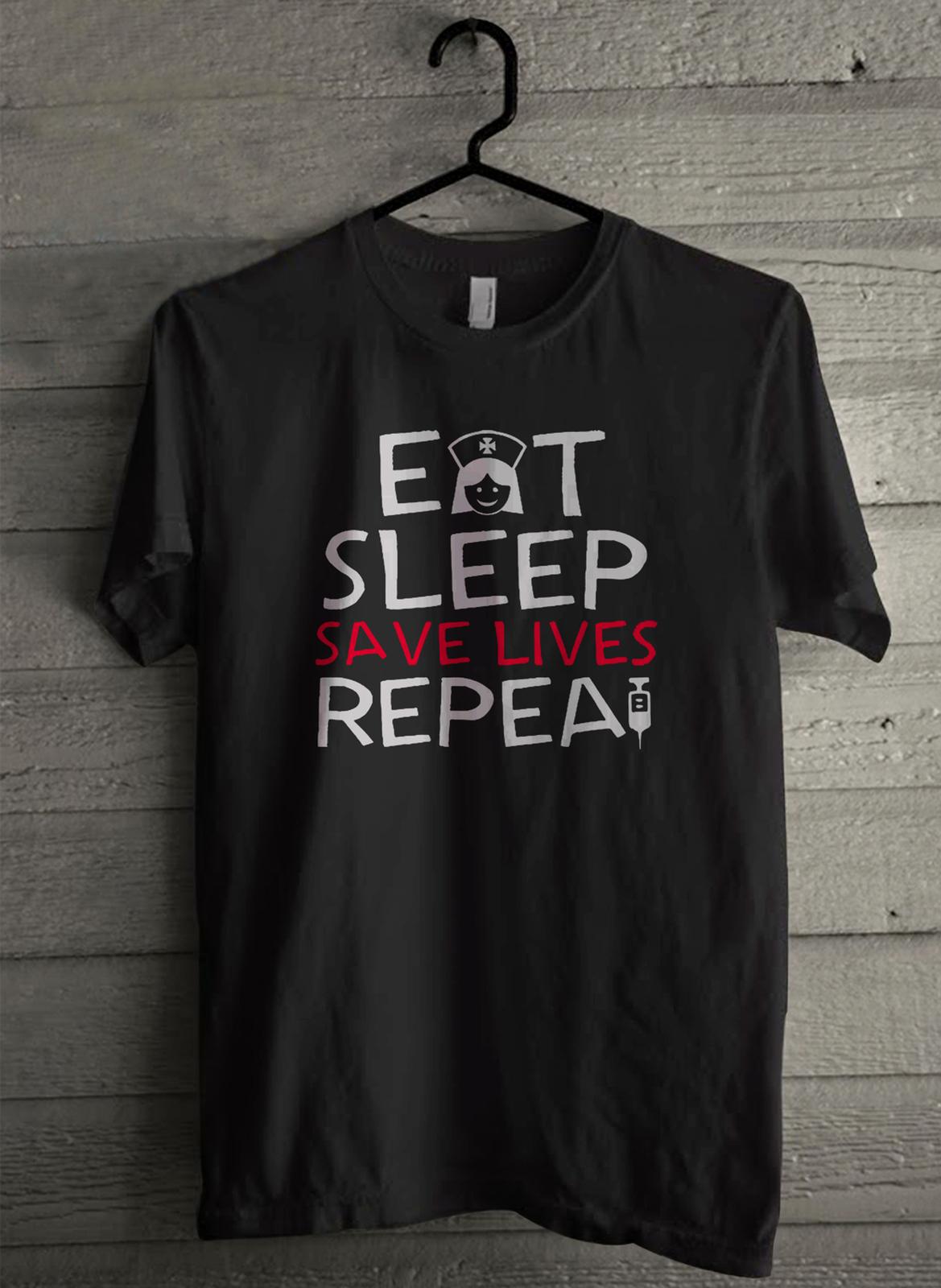Eat sleep save lives repea - Custom Men's T-Shirt (3910)