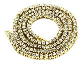 "Iced Out Hip Hop 14K Gold Plated CZ 1 Single Row Chain 30"" Bling Necklace - $16.82"