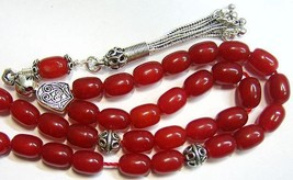 GREEK KOMBOLOI WORRY BEADS RED RUBILITE AND  STERLING SILVER - $103.95