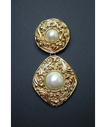"""Vintage Authentic Coco Chanel Mabe Pearl Dangle Brooch Pin 3 1/4"""" Long - $692.98"""