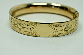 """14K Yellow Gold 24 Grams 1/2"""" Floral Engraved Bangle Bracelet w/Cartouch... - $1,658.69"""