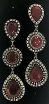 Avon NRT Red & Clear Rhinestone Chandelier Statement Piece Drop Earrings - $19.79