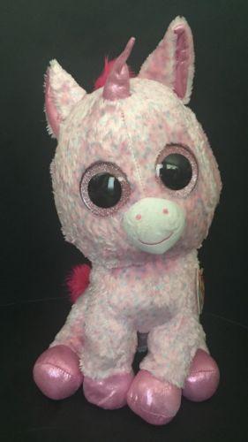 """Ty Beanie Boos Large 16/"""" Christmas Candy Cane Unicorn Plush"""