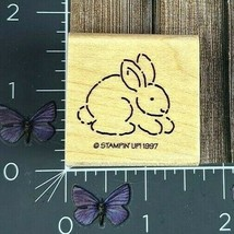 Stampin' Up! Bunny Rabbit Rubber Stamp 1997 Easter Animal Wood Mount #AA124 - $2.48