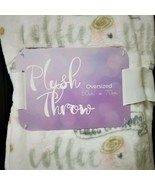 "Oversize Plush Throw Blanket - ""Coffee Makes Everything Better""-White Gr... - $41.93"