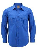 Men's Casual Western Pearl Snap Button Down Long Sleeve Cowboy Dress Shirt image 15