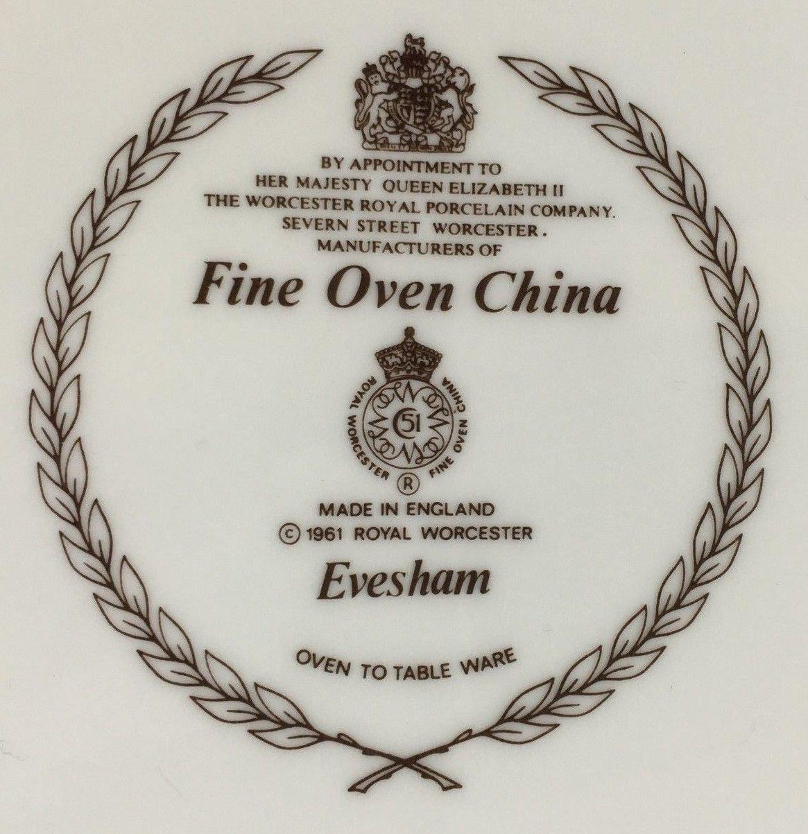 """Royal Worcester EVESHAM England souffle 6 1/4"""" (SKU EC 65) image 3"""