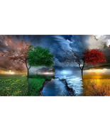 Beauty Trees Embroidery Diamond Painting Living Room Dector Handwork pic... - $26.99