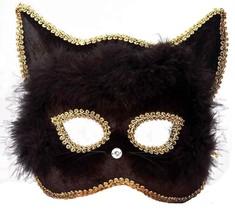 Forum Marabou Kitty Venetian Mask, Black/Gold, One Size - $14.99