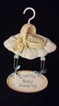 Precious Keepsakes RUSS Baby Sleeping Cute Vintage Hand Painted Hanging ... - $27.00