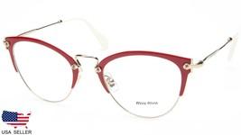 New Miu Miu Vmu 50Q VYI-1O1 Red / Pale Gold Eyeglasses Frame 52-22-140 B45 Italy - $222.73