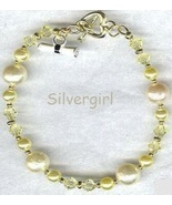 Jonquil Yellow Crystal Glass Pearl Grad Bracelet - $18.99