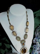 QVC Rare Joan Rivers Crystal Tiger eye Statement Necklace Chunky New Box pouch  - $272.24