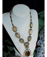 QVC Rare Joan Rivers Crystal Tiger eye Statement Necklace Chunky New Box... - $272.24
