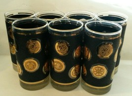 Mid Century Barware Linney Medallian 22Kt Gold Black Highball Cocktail G... - $55.37