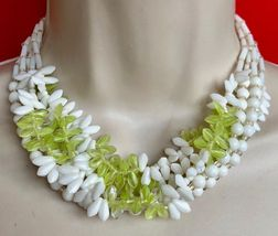 "White and Lime GLASS Beaded Multi Strand 16"" NECKLACE - WEST GERMANY - $45.00"