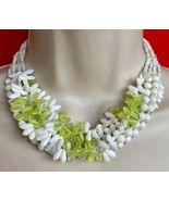 """White and Lime GLASS Beaded Multi Strand 16"""" NECKLACE - WEST GERMANY - $45.00"""