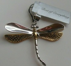 Vintage Signed BEST Two-tone Dragonfly Pendant - $14.99