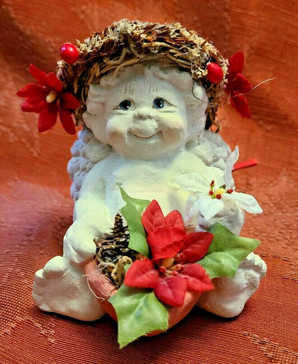 DREAMSICLE, Angel Cast Art Figurine, Kristin 1994 Flower Poinsettia Berries
