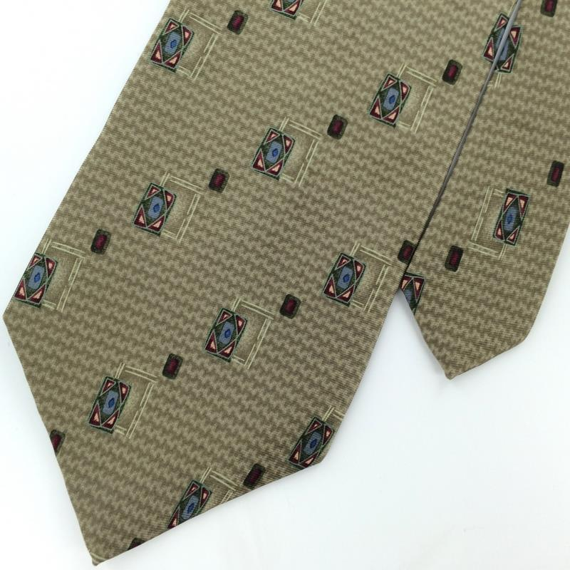 Primary image for Bill Blass Houndstooth  Diamond Khaki Blue Silk Men Necktie #M1-2 Excellent Ties