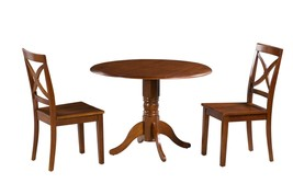 3 PIECE ROUND DINETTE KITCHEN TABLE SET WITH 4 PLAIN WOOD SEAT CHAIRS - $357.17