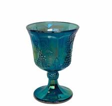 Fenton art Carnival Glass cup goblet grape vine glassware opalescent vtg mcm usa - $38.65