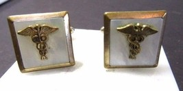 CADUCEUS SNAKE MEDICAL CUFFLNKS SYMBOL ON MOTHER OF PEARL SHELL VINTAGE  - $28.00