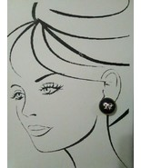 VINTAGE FASHION CLIP EARRINGS GOLDEN BOW & RHINESTONE ACCENT ON BLACK CA... - $22.00