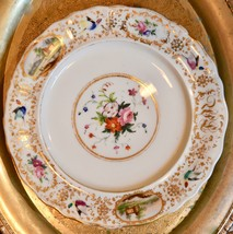 Mid 1800's Ed Honore? Old Paris Hand Paint Gold Bird Rose Landscape Dinn... - $169.99