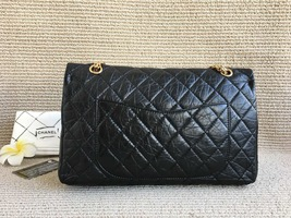 Auth Chanel Black 2.55 Reissue Quilted Age Calfskin 227 Jumbo Double Flap Bag  image 3