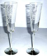 Kate Spade Belle Boulevard Champagne Flutes SET/2 Etched Crystal Silverp... - $84.90