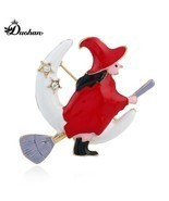 Red Tone Halloween Element Witch And Moon Brooch Scarf Pin Halloween Acc... - €8,41 EUR