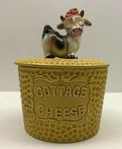 Vintage Mid Century Ceramic COTTAGE CHEESE Container Jar CUTE COW FIGURI... - $28.06