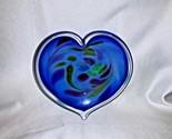 Glass Eye Studio Affection Blue Heart Paperweight Trinket Dish 726