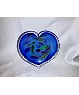 Glass Eye Studio Affection Blue Heart Paperweight Trinket Dish 726   - $39.00