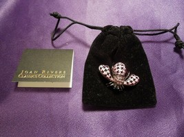 Rare Joan Rivers Crystal Enamel Black and Pink Houndstooth Bee Pin Brooc... - $99.00