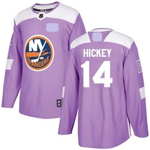 Men's New York Islanders Fights Cancer #14 Thomas Hickey Jersey Purple S... - $1.129,14 MXN