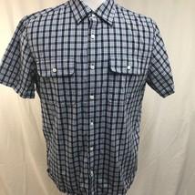 Michael Kors Men Shirt Short Sleeve Button Front Plaid Blue 100% Cotton XL - $18.46