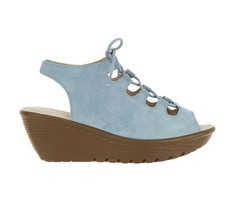Skechers Suede Lace-Up Peep-Toe Wedges Light Blue, Size 6 M - $45.53