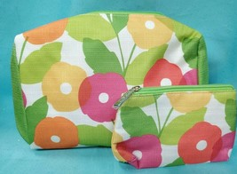 Clinique 2pc Cosmetic Bag Set Makeup Travel Large & Small Zipper ~ Bright Flower - $7.50