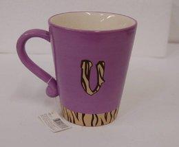 Russ Berrie 37768 Gone Wild Letter V Mug Purple Brown Tiger Stripes image 4