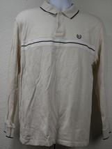 Chaps Ralph Lauren Polo Shirt Size M Medium Long Sleeve Beige White Cott... - $24.79