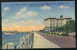South Carolina Murray Boulevard Charleston SC Vntg Curteich Linen 1940 P... - $4.99