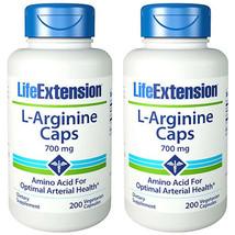L-Arginine 700mg 2X200 Caps Life Extension Amino Acid Vitamin C - $30.64