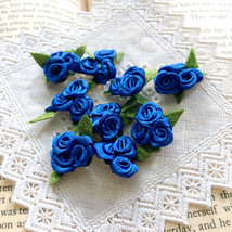 20 Trio Cobalt Blue Roses,Craft Roses,Satin Rosettes,Sewing,Applique,DIY... - $7.95